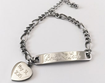 Ladies Thin Heart Chain Personalized Stainless Steel Bracelet Engraved for Free, Love Bracelet, Valentine's Day Gift, Bridesmaid