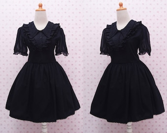 Black Gothic Laces Lolita Dress with Triangle Neckline and Puffy Chiffon Arms - Gothic Lolita for Tea Party Event - Knee Length Gothic Dress