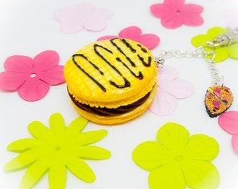 Keychain or bag embossed chocolate macaron charm