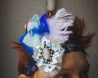 ON HOLD* Blue, white, and Silver Head Piece