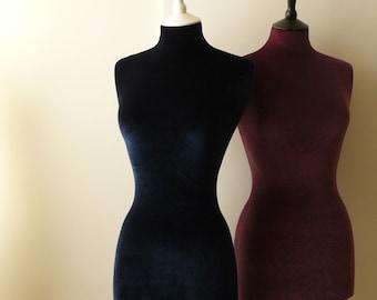 Female Display Mannequin Velvet Home Decor Dressform - Navy Blue