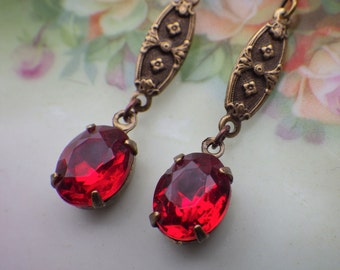 Ruby Earrings ~ Vintage Style ~ Art Nouveau ~ Vintage Glass ~ Ruby Red ~ July Birthstone ~ by LadyofTheLakeJewels