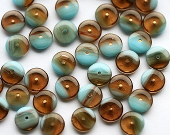 25pc Glass Rondelle Beads, Brown and Blue czech glass rondels, 9mm rondelle, mixed color spacers - 0527