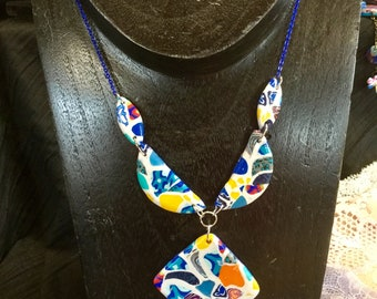 Necklace with pendant and beads in polymer clay mosaic imitation Barcelona, electric blue chain