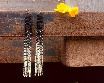Snow and Stars - long seed bead fringe earrings