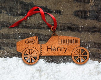 Wooden Classic Car Ornament: Personalized Name, Baby's First Christmas 2018, Boy, Kids, Dad, Men