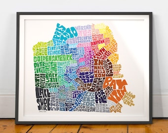 San Francisco Neighborhood Map Art Print, San Francisco wall decor, San Francisco typography map art