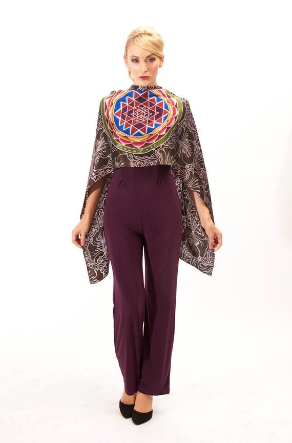 Sri Yantra mandala silk scarf with a Flower pattern background