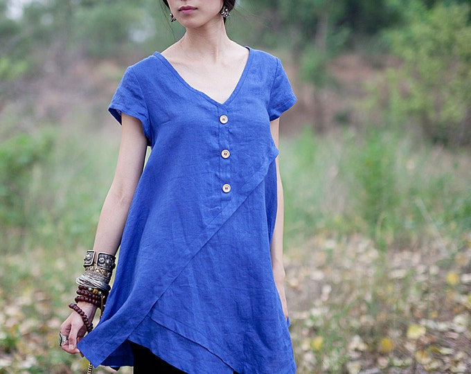 Women shirt/Top - Sleeveless shirt/Top - V Neck- Summer shirt/Top - Linen shirt/Tunic - Made to order