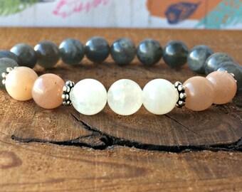 Sunstone, Moonstone & Labradorite Bracelet, Yoga Jewelry Healing Crystals + Stones, Wrist Mala Beads, Happiness - Magic - Emotional Balance