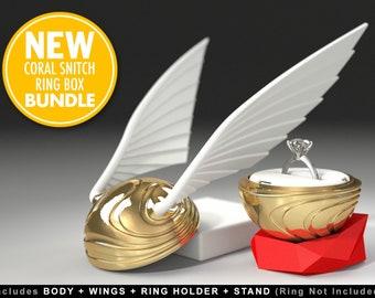 Coral Snitch Ring Box (BUNDLE) - proposal, engagement, wedding, marriage, matrimony, bridal, gift, case, golden, jewel, love, ring, geek