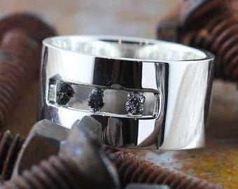 Mens Wedding Band Black Uncut Raw Diamond Sterling Silver Open Ring