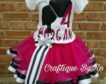 Pink and Black Afro Puff - Afro Puff Girl Tutu Set -Tutu Set -Birthday Tutu Set - Birthday Outfit - Afto Puff Birthday Outfit