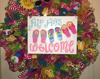 Summer flip flops wreath