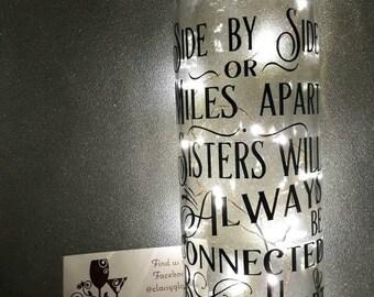 Sister gift light up wine bottle
