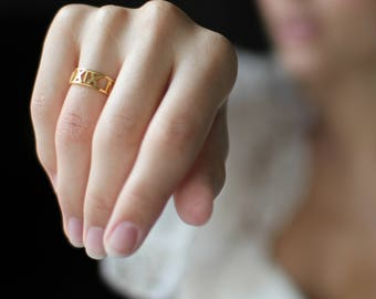 Roman Numerals Ring • Custom Date Ring • Personalized Anniversary Ring • Roman Numeral Jewelry • Wedding Date Band • Engagement Ring • RH03