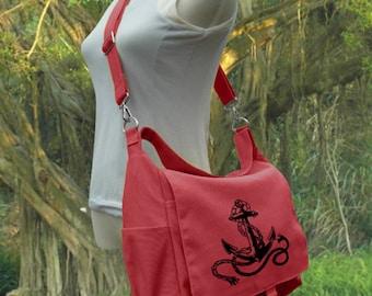 Screen print messenger bag, red canvas shoulder bag, diaper pag, school bag for students