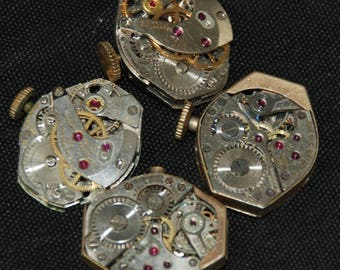 Vintage Watch Movements Parts Steampunk Altered Art Assemblage RB 91