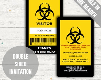 Mad Science Party Invitations. Science Party ID Badge Design. Editable PDF. Printable. Instant Download.