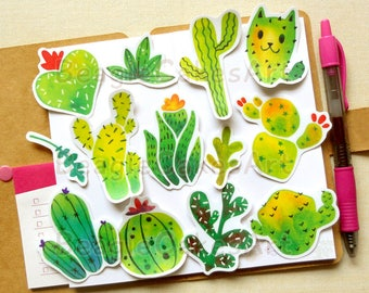 Cactus Stickers, Plants Sticker, Succulent Sticker, Skateboard Sticker, Cacti Stickers, Waterproof Sticker, Planner Sticker, Potten Plants