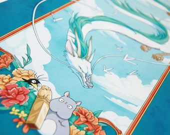 Spirited Away Haku and the Golden Seal 8 x 22 inch Print