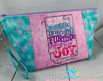 Unicorn Sparkle of Joy - Knitting Project Bag - Crochet Bag