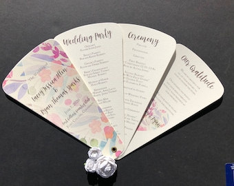 Watercolor Floral Diamond Wedding Program Petal Fan