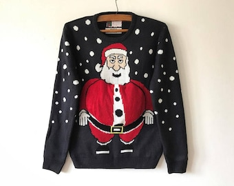 Dark Blue Knitted Ugly Christmas Sweater Blue Santa Claus Jumper Blue Winter Cardigan Stockings Festival Jumper Size Medium Ugly Sweater