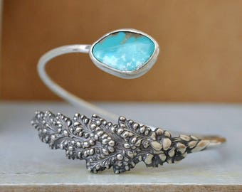 sterling silver LILY Of The VALLEY, vintage sterling silver repurposed bangle bracelet with vintage blue turquoise stone
