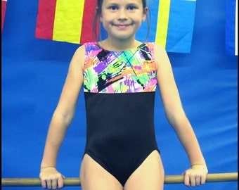Girls Gymnastics Leotard - colorful abstract design - New leo - 9 sizes available