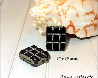 """2 beads Czech Picasso Rectangle """"checked"""" 15 x 13 mm black glass"""