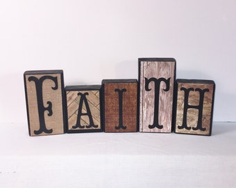 Rustic Wood Decor  -- FAITH -- Wood Decor -- Neutral Colors