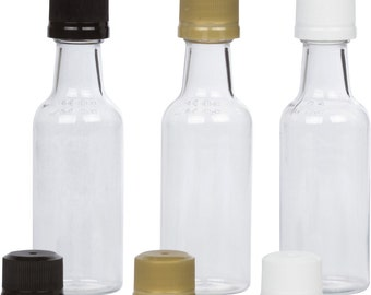 12 Mini Liquor Bottles small 50ml mini empty plastic mini alcohol bottle shots + Caps (black, gold, white)