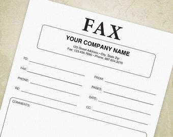 Fax Cover Sheet Printable Form PDF, Facsimile Cover Sheet, Fax Form - Editable Custom Template, Digital File, Instant Download