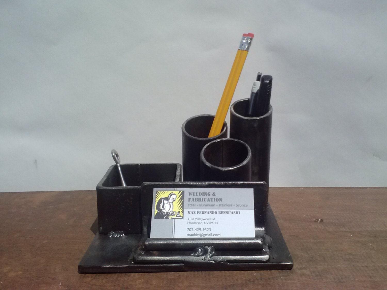 desk organizer. pencil holder. business card holder. welded