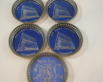 1950's Air Force Academy Colorado Coasters. Blue and Silver Cut out Edges. Made in Japan.