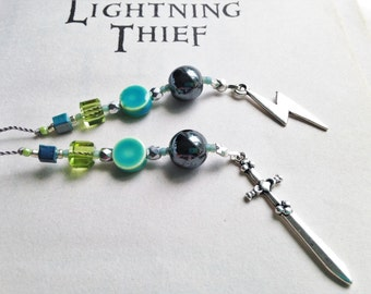 Percy Jackson Olympians Bookmark Rear View Mirror Charms Lightning Theif Beaded Book Thong Teal and Silver Gray Lightning Bolt Sword Charms
