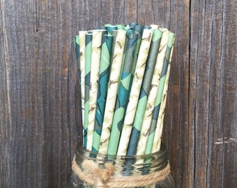 100 Green and Tan Camo Themed Paper Straws - Army  or G I Joe Party Supply, Free Shipping!