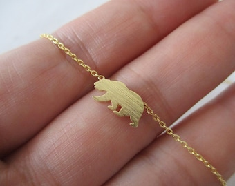 Gold bear necklace, Tiny Gold, Silver, Rose Gold bear necklace...dainty handmade necklace, everyday, simple, birthday
