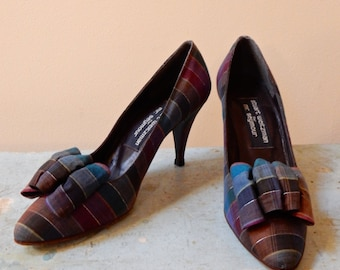 1960s Plaid Bow Pumps Stuart Weitzman for Mr Seymour Dupioni Silk Super Cute Ultra Feminine Vintage Madras High Heels