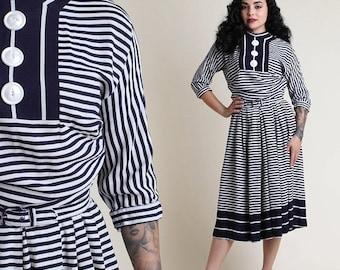 SALE SALE SALE vintage 50s Nautical Striped sailor day dress / garden party tea pinup rockabilly dress 1950s