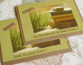 Best Teacher Ever - An Múinteoir is fearr riamh - Personalised Card Handmade in Ireland