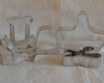 Vintage Cookie Cutters Sewing Shapes, Quilting gift, Hand Forged original box