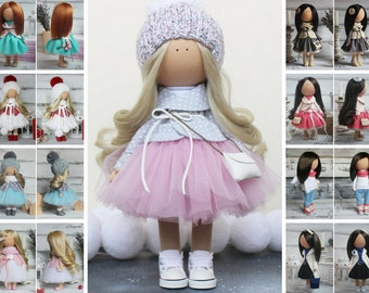 Rag doll Fabric doll Nursery doll Unique doll Tilda doll Textile doll Handmade doll Purple doll Art doll Baby doll Soft doll by Margarita