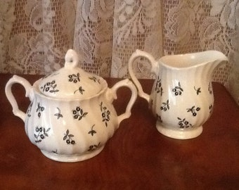 Sugar Bowl & Creamer Set antique Straffordshire England Myotts Autumn Berries