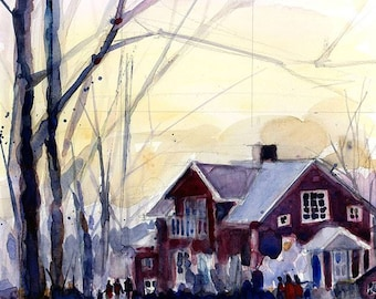 Original Watercolor or Print - Winter Wonderland