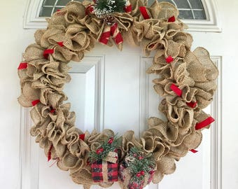 Christmas Candy Cane and Gift Wreath, Christmas Decor, Holiday Wreath, Burlap, Front Door