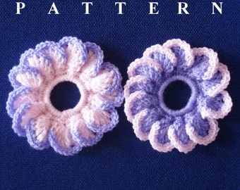 Flower scrunchie crochet pattern scrunchie crochet accessories crochet patterns crochet scrunchie ponytail Olga Andrew Designs Pattern 033