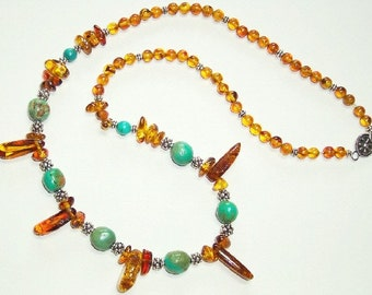 Amber, Turquoise, and Sterling Silver Bead Necklace with Flower Hook Clasp N-205