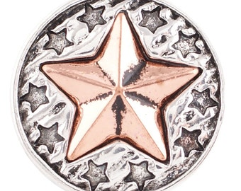 1 PC - 18MM Star Stars Copper Candy Snap Charm Silver Tone kc6098 CC2690